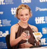 Carey Mulligan toasted the journalists on hand at the 2010 press conference for Never Let Me Go.