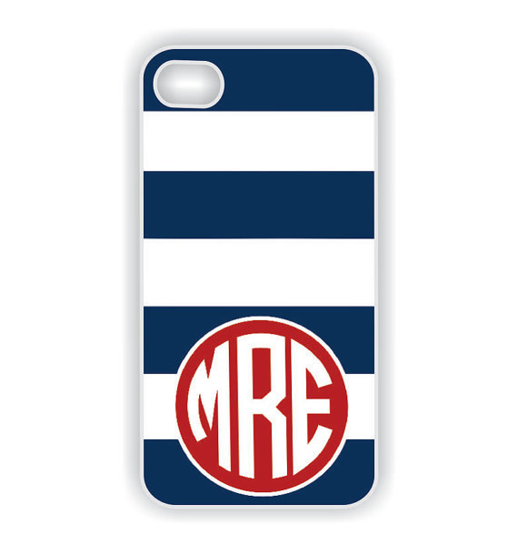Blue and Red Monogrammed iPhone Case ($18)