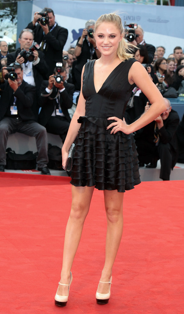 At Any Price starlet Maika Monroe attended The Master premiere in a tiered LBD and white Mary Jane pumps.