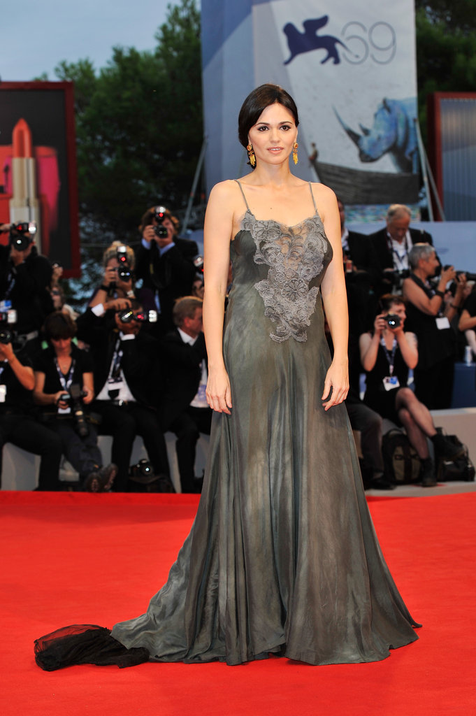Actress Romina Mondello put a lingerie-inspired spin on her romantic gray gown at the To the Wonder premiere.