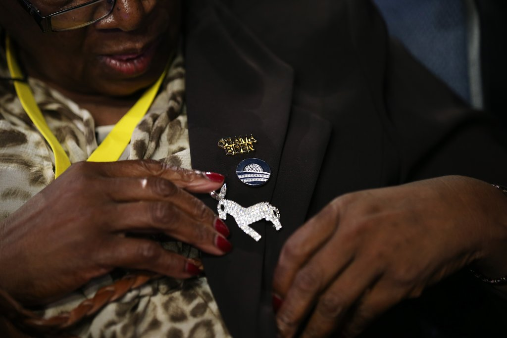 A donkey pin decorated this woman's DNC outfit.