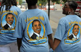 Three women wore Obama shirts.
