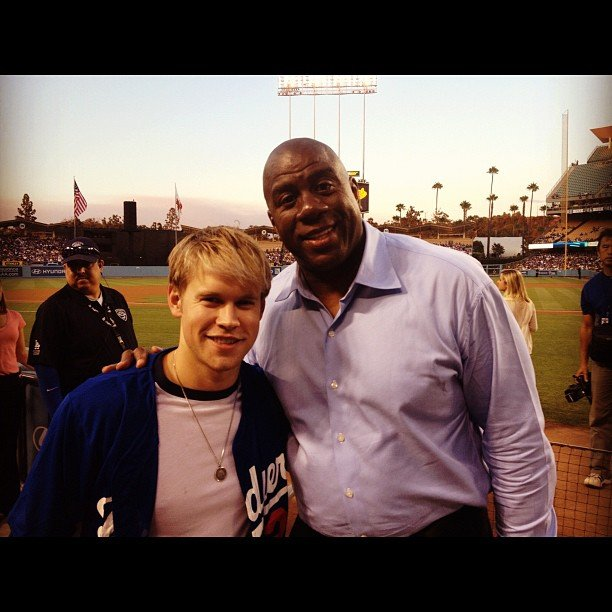 Chord Overstreet met Magic Johnson. Source: Instagram user chordover