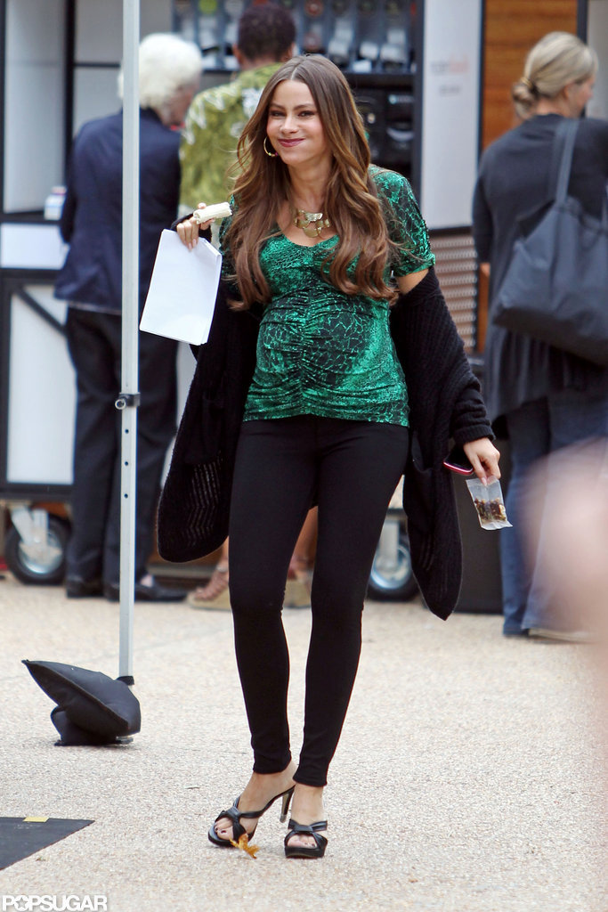 Sofia Vergara was all smiles while filming.