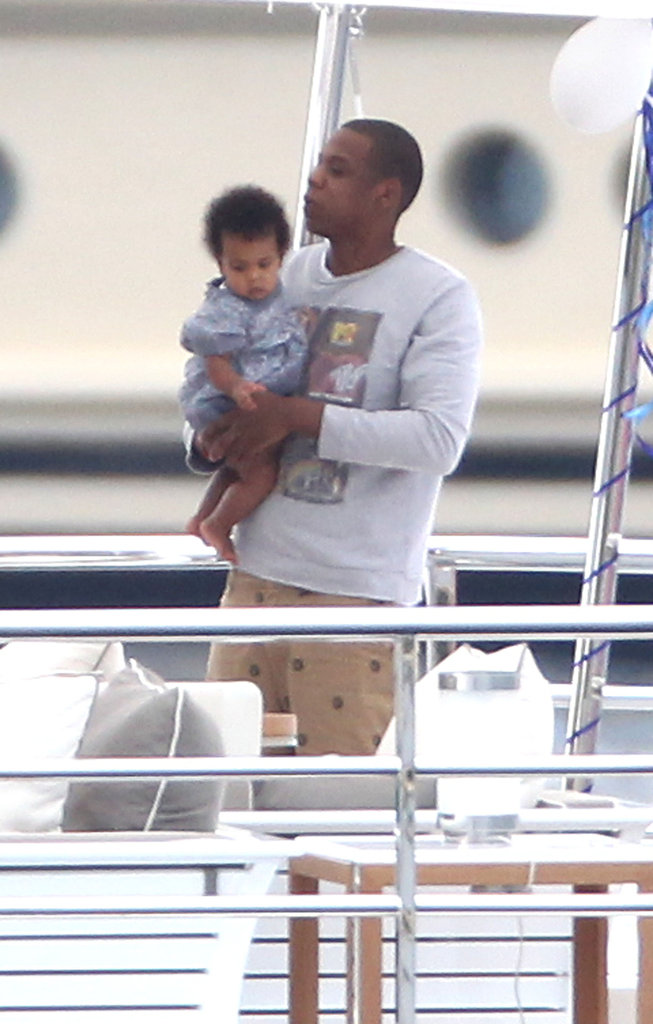 Jay-Z held Blue while vacationing in the South of France.