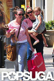 Jennifer Garner and Seraphina Affleck left the American Girl store with a family friend.