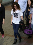 Kristen Stewart Wears Rob's Shirt and a Finger Splint on Her Way to TIFF