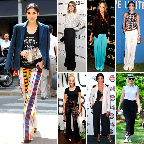 Celebrities wear the wide leg trouser trend: Shop Our Editors Picks from Stella McCartney, See By Chloe, Tibi and More!