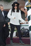 Vanessa was spotted in her signature laid-back wares in Venice, sporting a lightweight white knit sweater, zippered black jeans, and ankle boots.