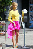 Kristin Cavallari wore a bright yellow sweater with a hot-pink, asymmetrical skirt in LA in May, a few months before welcoming baby Camden Jack.