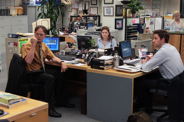 Dwight, Jim, and Pam (Jenna Fischer) complete the cubicle trifecta.