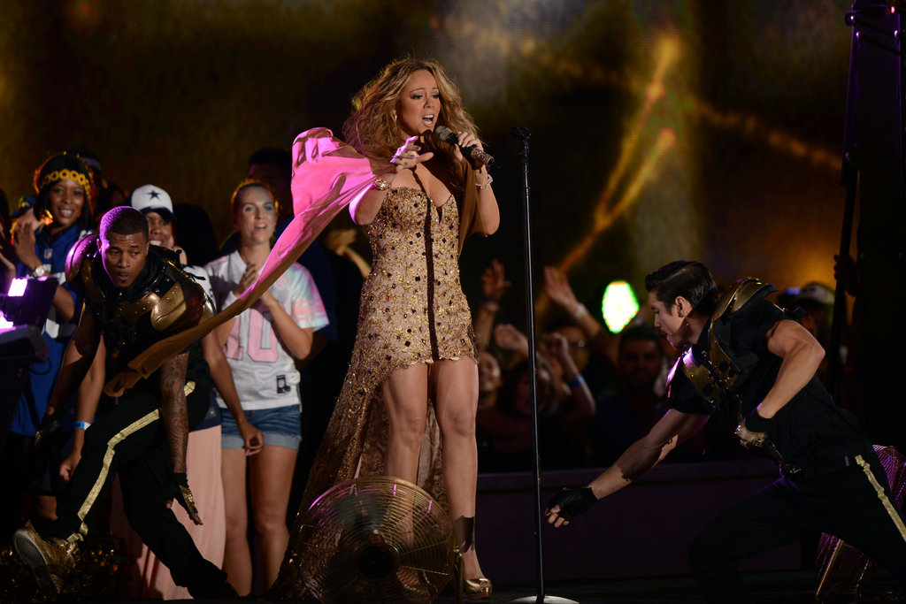 Mariah Carey belted it out on stage at the NFL Kickoff concert in NYC.