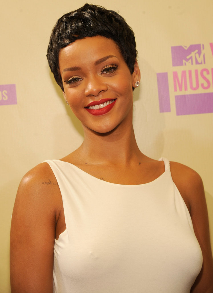 Rihanna was all smiles at the VMAs.