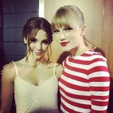 McKayla Maroney caught up with Taylor Swift backstage.  Source: Instagram user mckaylamaroney