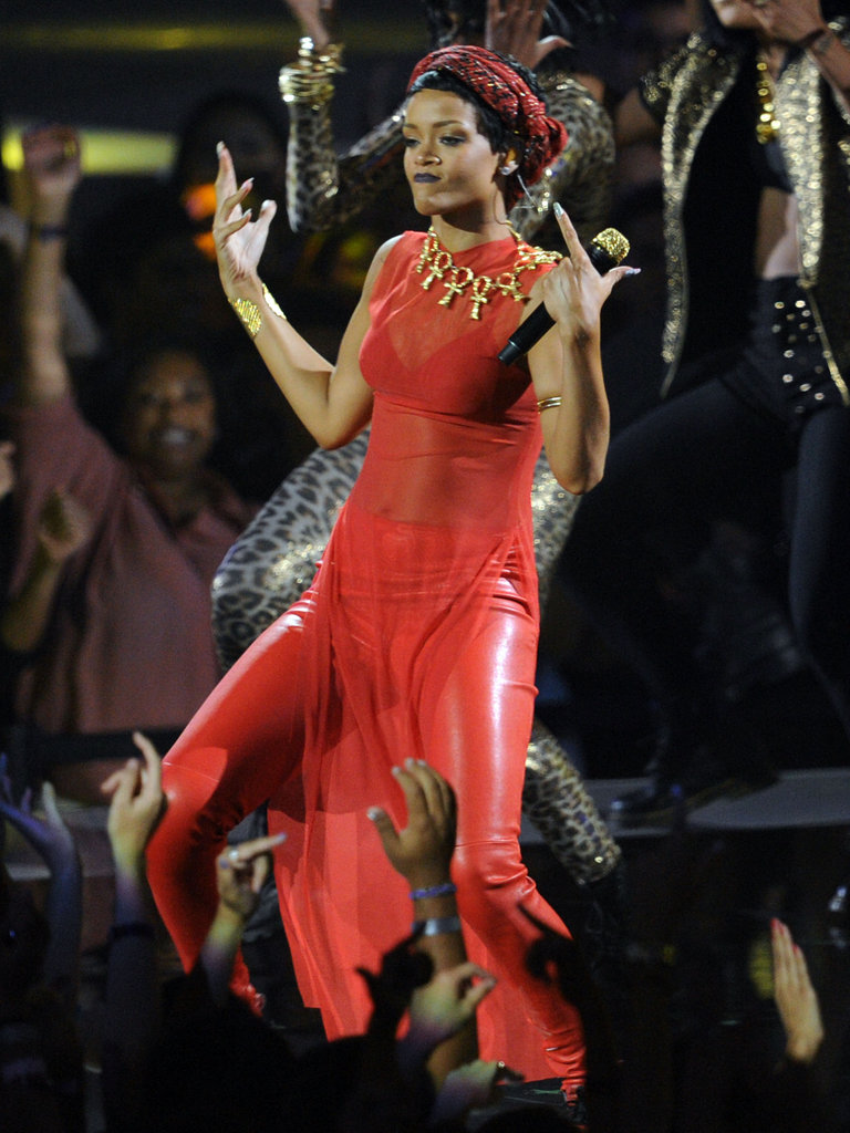 Rihanna wore a red outfit onstage.