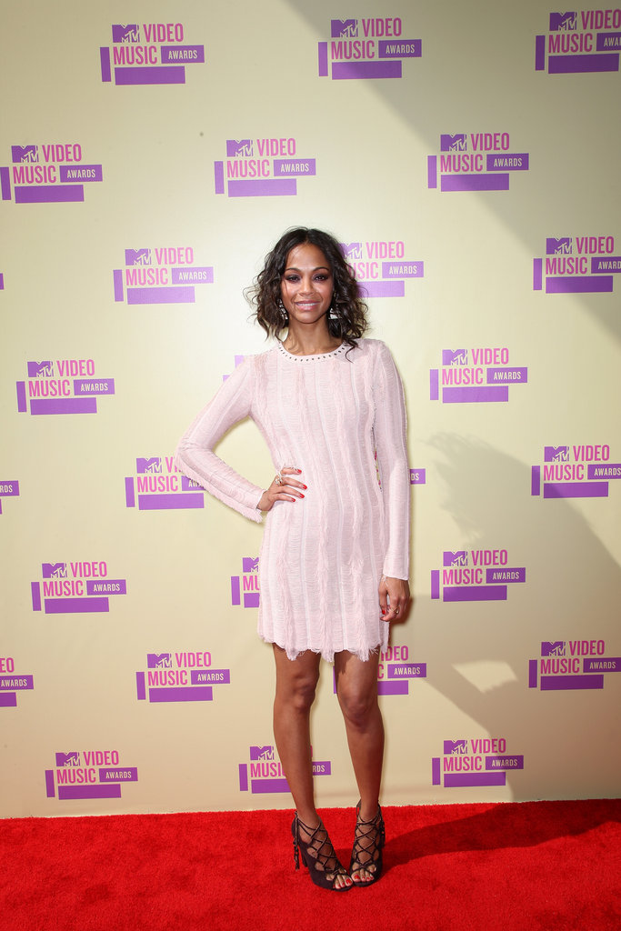 Zoe Saldana looked gorgeous in a Salvatore Ferragamo mini dress..