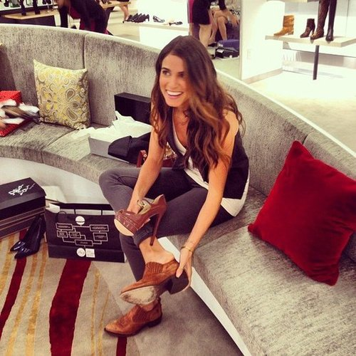 Nikki Reed tried on shoes during FNO at Saks Fifth Avenue in NYC. Source: Instagram user s5a