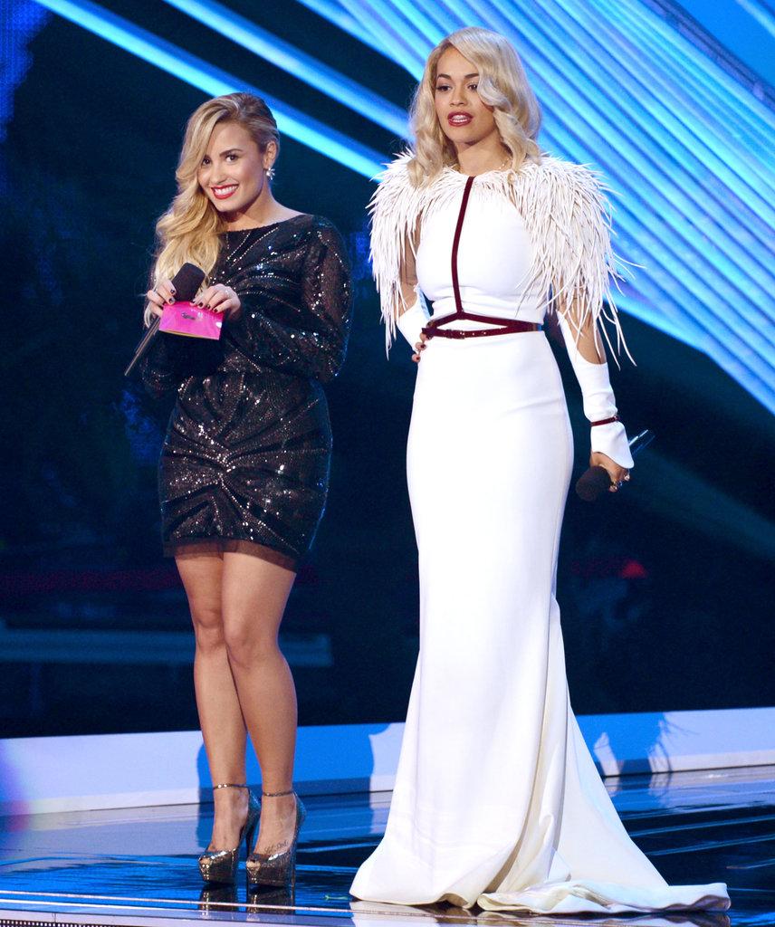 Rita Ora and Demi Lovato spoke at the VMAs.
