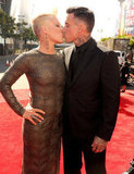 Pink and Carey Hart shared a red carpet kiss.