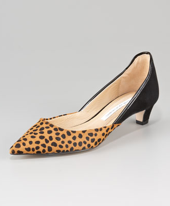 A walkable heel and a standout print make these just right for taking out and about with just about anything in your closet.  Diane von Furstenberg Alice Leopard-Print d'Orsay Kitten-Heel Pump ($278)