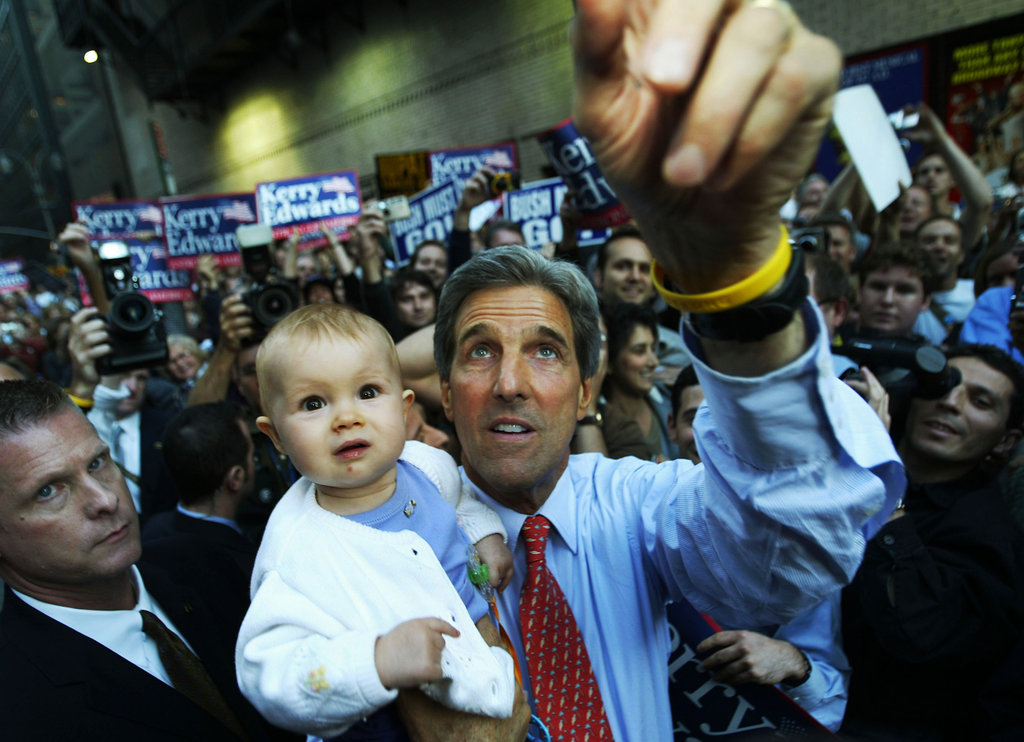 While leaving from an appearance on Late Night With David Letterman, John Kerry picked up a baby from the crowd in 2004.