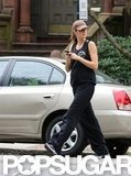 Gisele Bundchen had her phone in her hands while walking home.