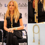 Rachel Zoe dished out career advice at Lucky magazine's FABB event in NYC while wearing her own gold tassel necklace. Shop the original version or an affordable alternative.