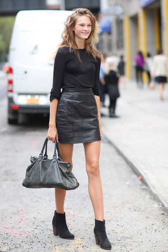 All-black everything — a pared-down take on the leather skirt that we're totally loving. Source: Greg Kessler