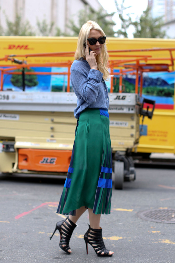 Zanna Roberts Rassi inspired us with a soft button-down, a colorblocked skirt, and chic cage heels.