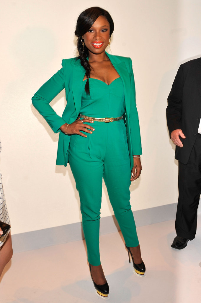Jennifer Hudson chose an emerald jumpsuit and co-ordinating blazer for Project Runway's front row.
