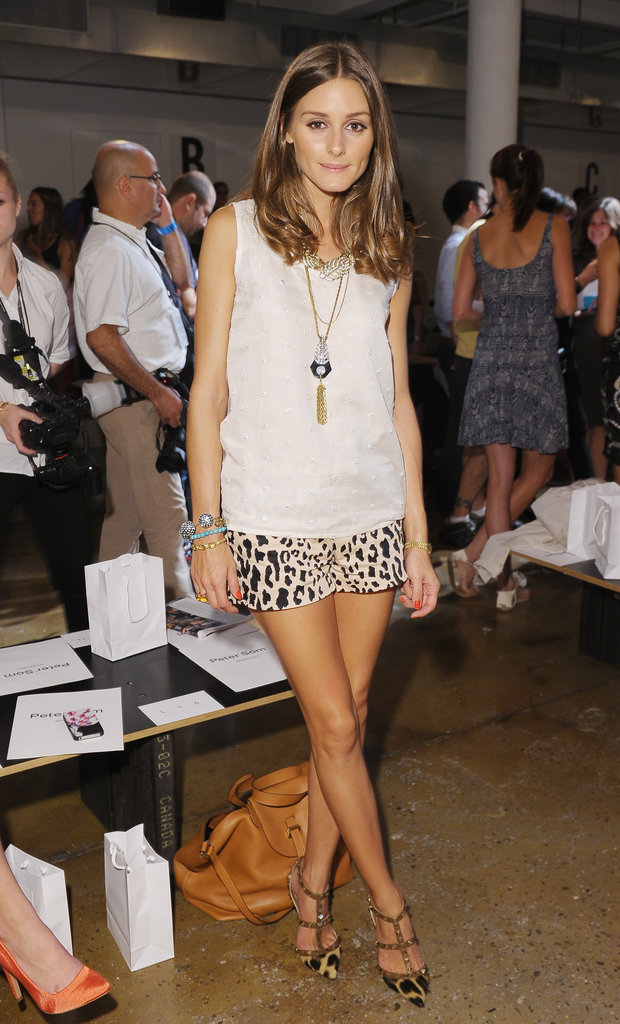 Olivia Palermo finished her Tibi leopard-print shorts with a pair of Valentino pointed-toe heels.