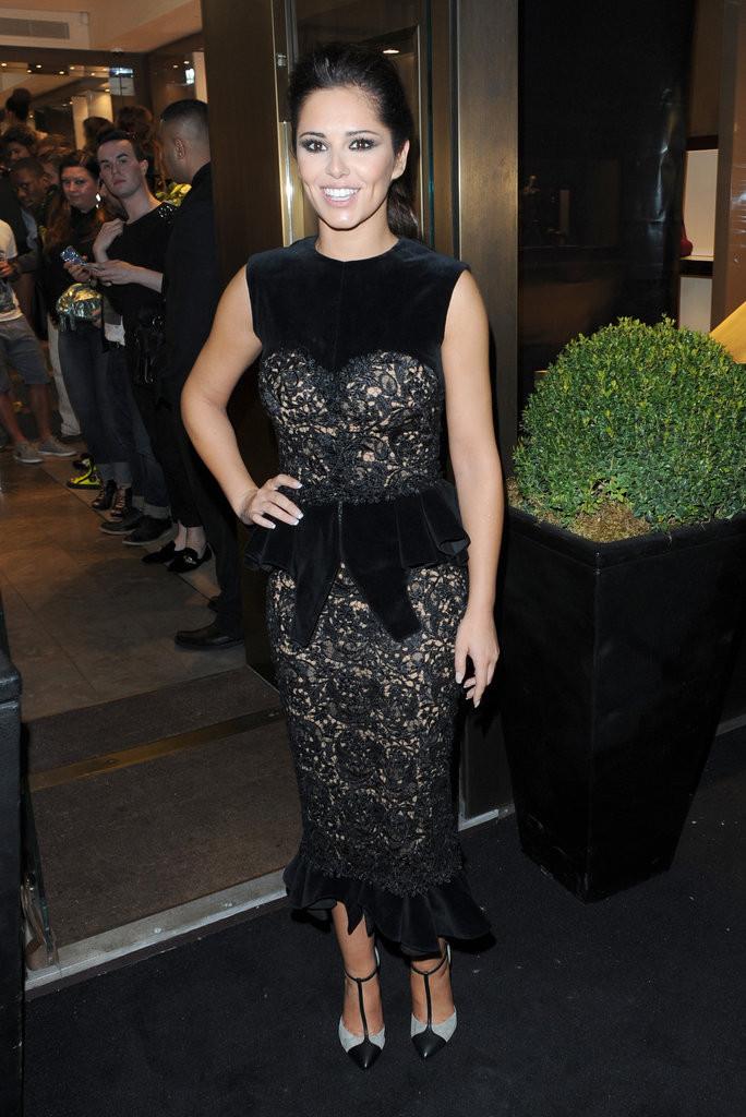 Cheryl Cole picked a black velvet peplum design at the Giuseppe Zanotti Design shop event in 2012.