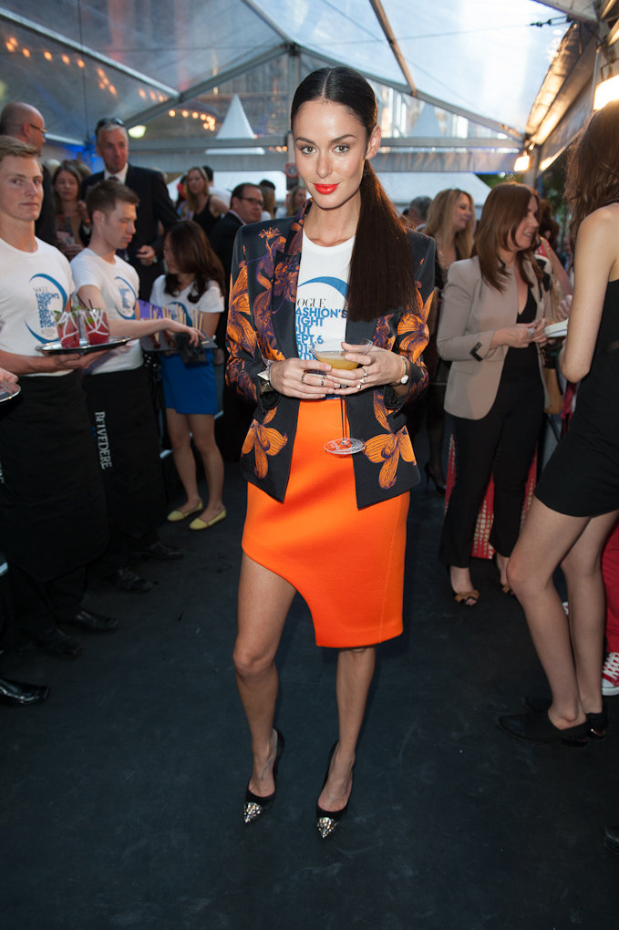 Nicole Trunfio was bright and beautiful in Josh Goot and her own Trunfio jewellery line. Love her Louis Vuitton heels, too!