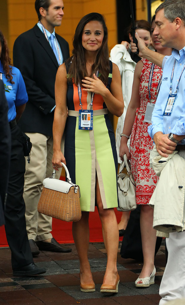 We loved Pippa Middleton in this citrus colour-blocked dress so much that we added it to her best off-duty looks gallery. Girl done good!