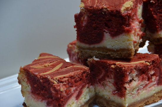 White Chocolate Cheesecake Bites with Red Velvet Swirl