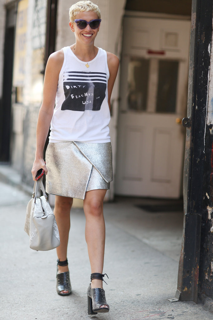 This metallic skirt got a cool-girl twist with a vintage tee and ankle-strap heels.