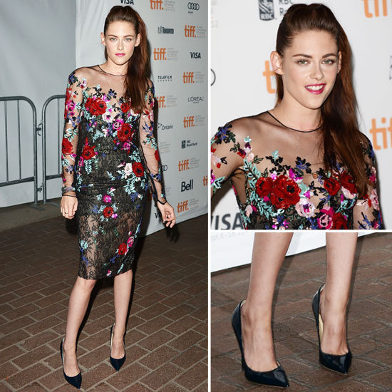 "Kristen Stewart came out of ""hiding"" — in a floral-embroidered Zuhair Murad dress! See it from all angles here."