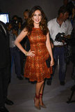 Kelly Brook coordinated shoes and dress at Bora Aksu.