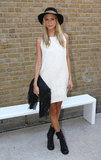 Poppy Delevingne was monochrome for the Zoe Jordan show.