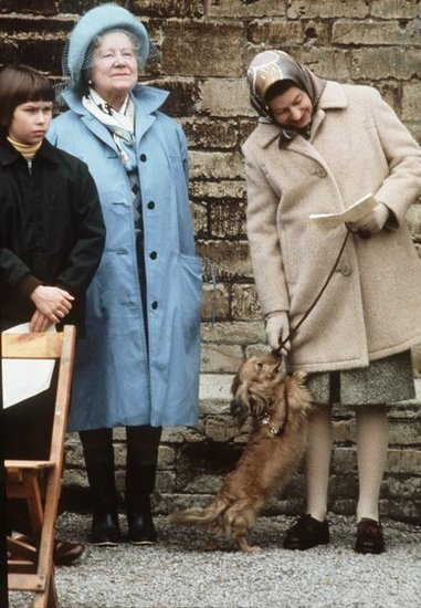 Two generations of royalty (Queen Elizabeth II and the Queen Mother, Elizabeth) attended the Badminton Horse Trials with an adorable Dorgi in 1976.