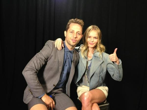 Kate Bosworth and Derek Blasberg were ready for the Theyskens Theory show to start. Source: Twitter user katebosworth