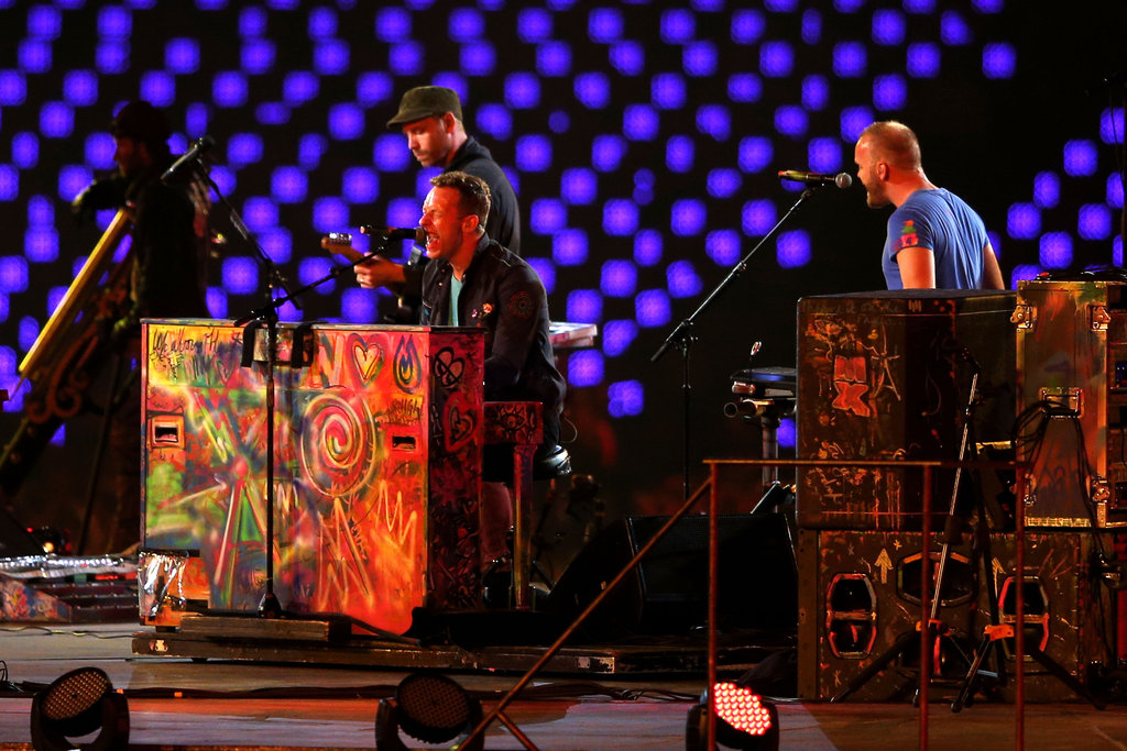 Chris Martin played the piano with his band, Coldplay, in London.