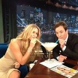 Bar Refaeli split a late-night cocktail with Jimmy Fallon. Source: Instagram user barrefaeli