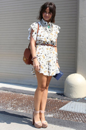Miroslava Duma does it again in a printed mini and statement jewels.