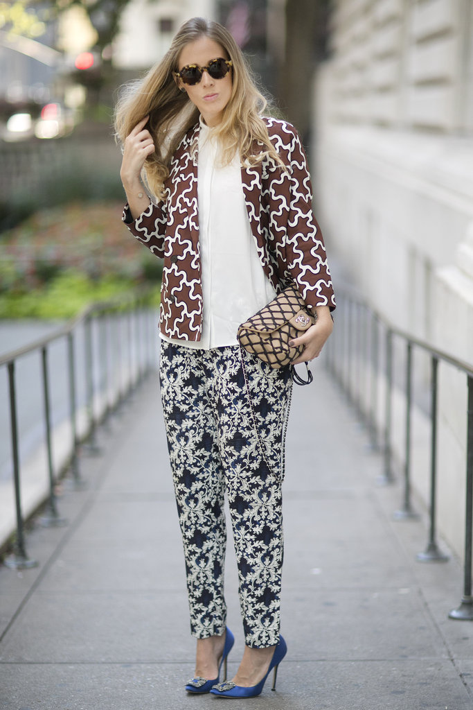 Two prints, a Chanel bag, and a pair of glam Manolos add up to infinite inspiration in just one look.