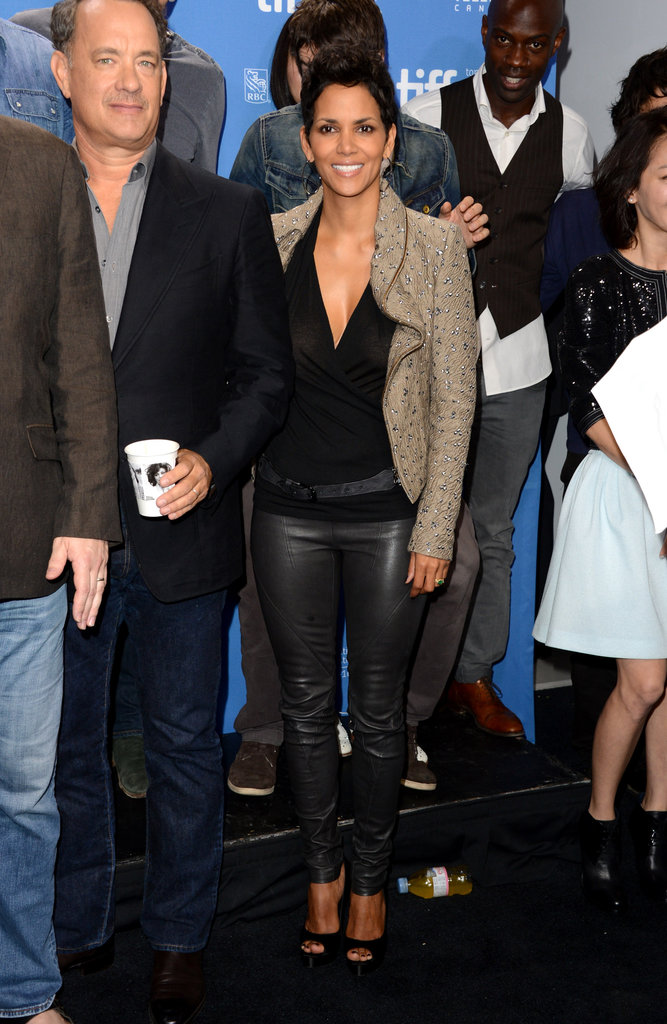 Halle Berry paired a textured blazer with her slicked-up leather pants look at the photocall of Cloud Atlas.