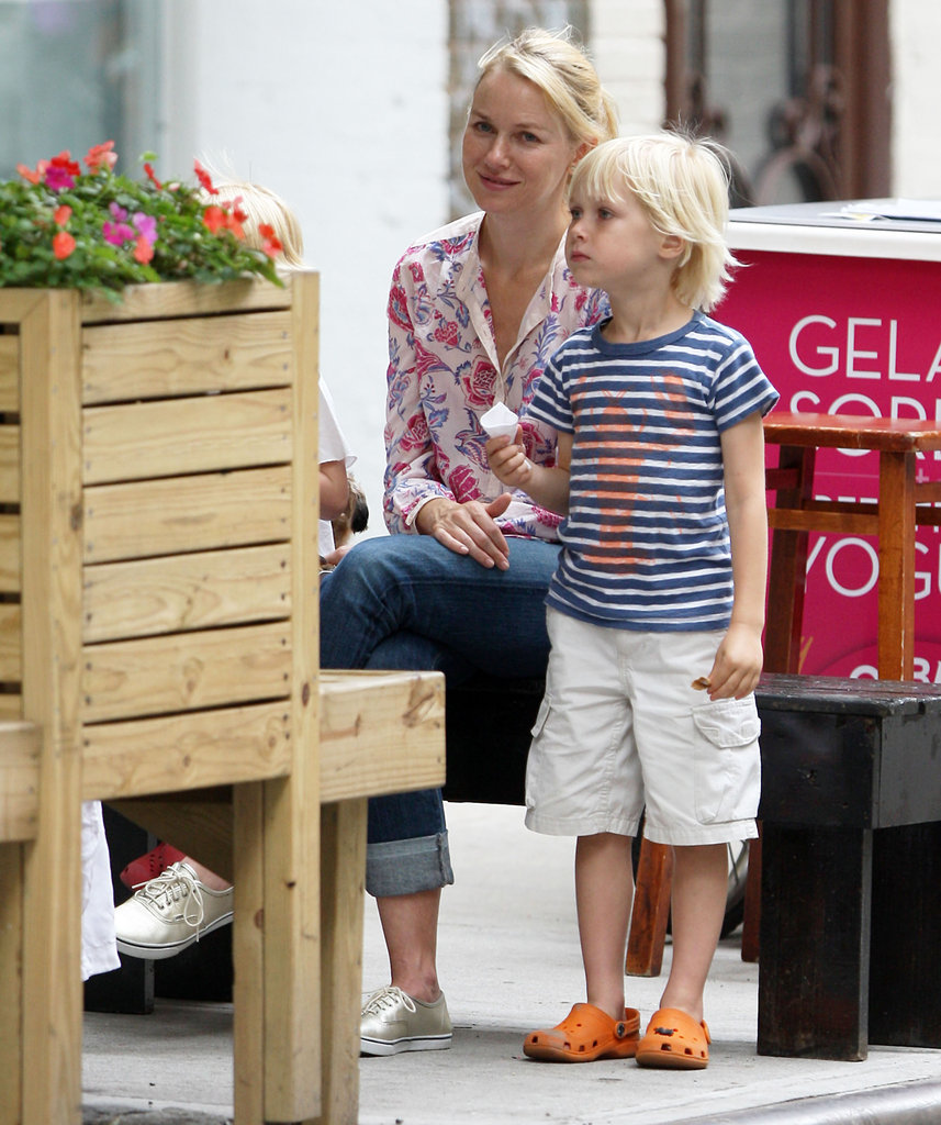Naomi Watts had a smile on her face as she watched son Kai eat his gelato in NYC.