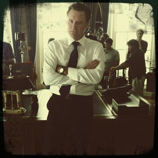 Josh Gad snapped a photo of Bill Pullman as the president on the set of NBC's 1600 Penn. Source: Twitter user joshgad