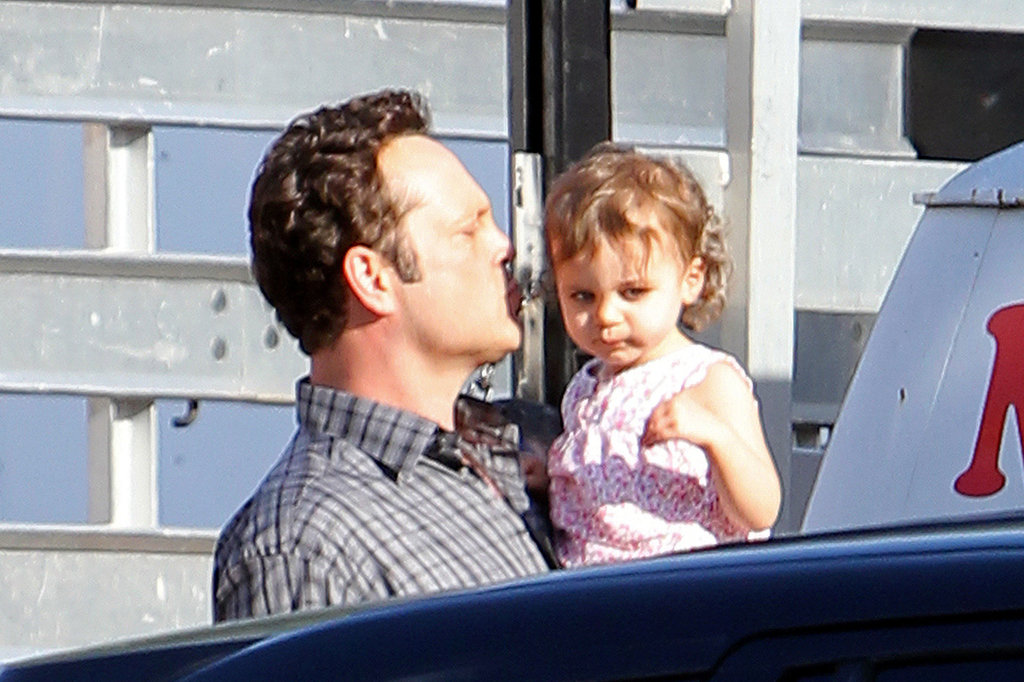 Vince Vaughn kissed his daughter Locklyn Vaughn's forehead.