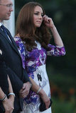 Kate Middleton wore a purple and white Prabal Gurung dress for a welcome ceremony in Singapore.
